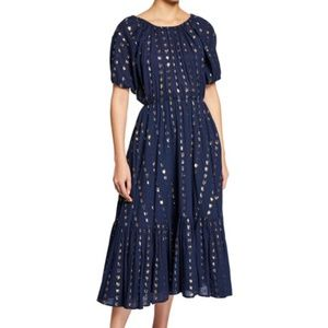 Rhode Frida Dress - Navy Metallic, Size S